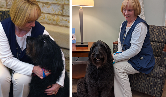 Two photos of Maggie Advey holding her black Goldendoodle Zoe.