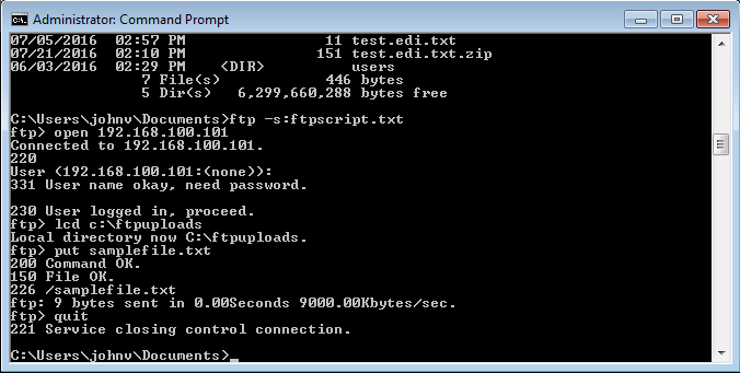 How do I use FTP from a command line?