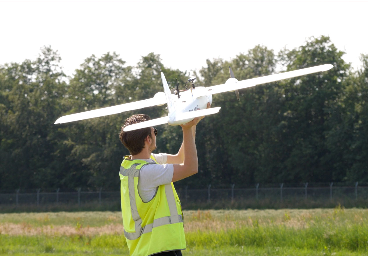 A drone ready for take-off