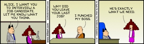 Cartoon jobinterview punched boss
