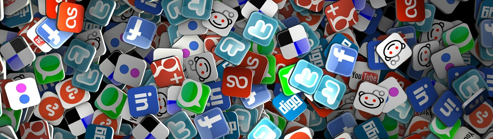 Hundreds of various social media logos in a pile.