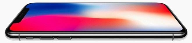 A portrait view of the iPhone X.