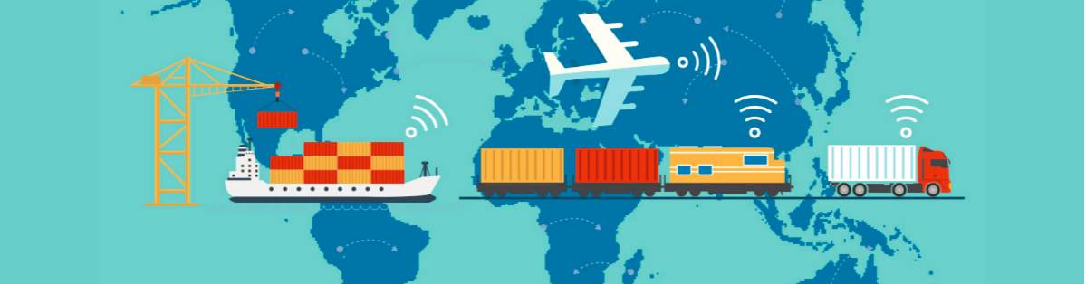 Animated image of a world map with smart cargo ships, trains and planes transporting goods across countries.