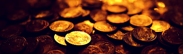 A pile of gold coins.