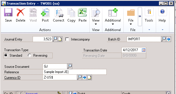 How to Paste Journal Entries from Excel to Microsoft Dynamics GP