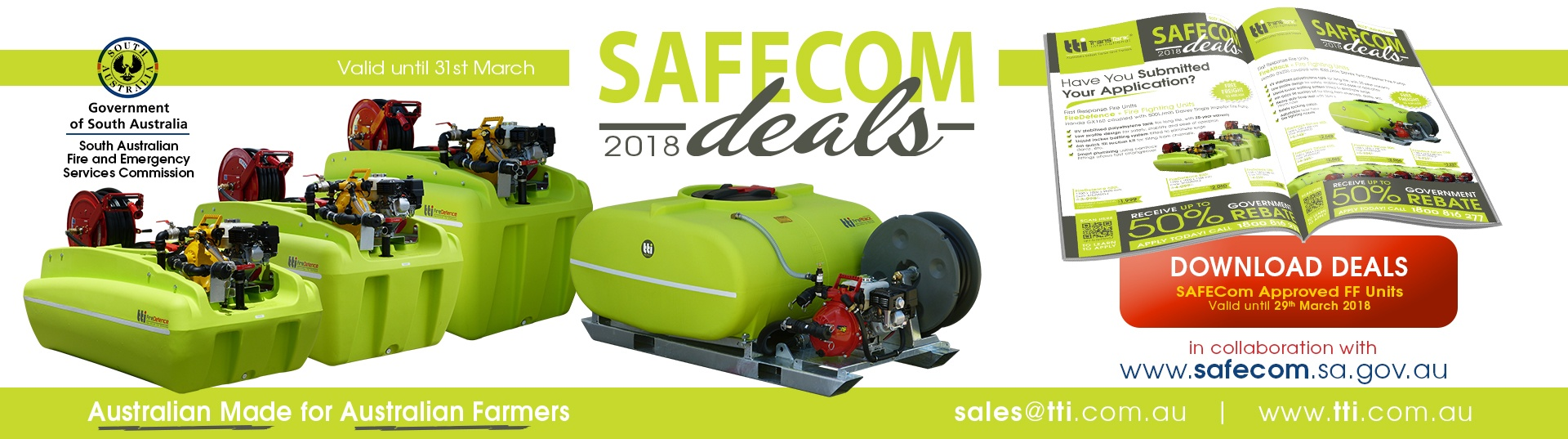 safecom 2018 tti sales catalogue fire fighting equipment tank tanks trailers australia autumn action deals 2018