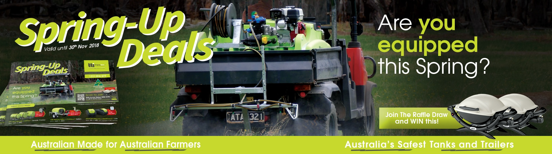 spring up deals, spring 2018, australia, low prices, best deals, lads, local active dealer, tti sales catalogue, spray equipment, diesel transport equipment, tank, tanks, trailers,