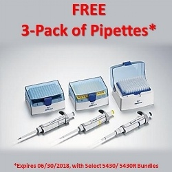 Free Eppendorf pipettes with select 5430 and 5430R purchases