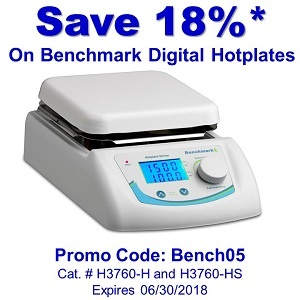 Save and Additional 18% on Benchmark Hotplates (H3760-H & H3760-HS)*