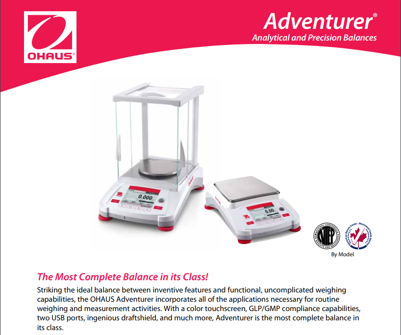 OHAUS Adventurer Analytical Balance - Analytical Scale Data Sheet - Pipette_Com