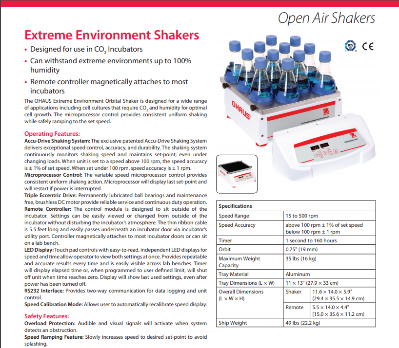 OHAUS Extreme Environment Shakers - CO2 Incubator Shaker Data Sheet - Pipette_com
