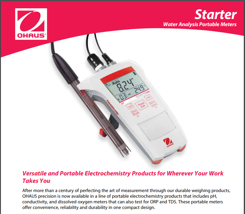 Ohaus Starter 300C Portable Conductivity Meter, Data Sheet- Pipette_Com