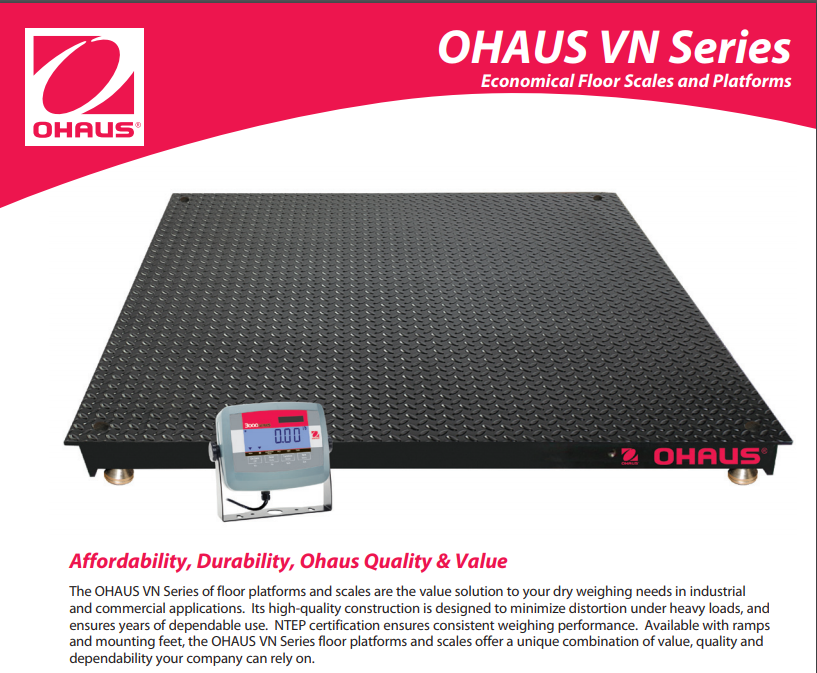 OHAUS VN Series Floor Scales and Platforms - Industrial Scale Data Sheet - Pipette_Com