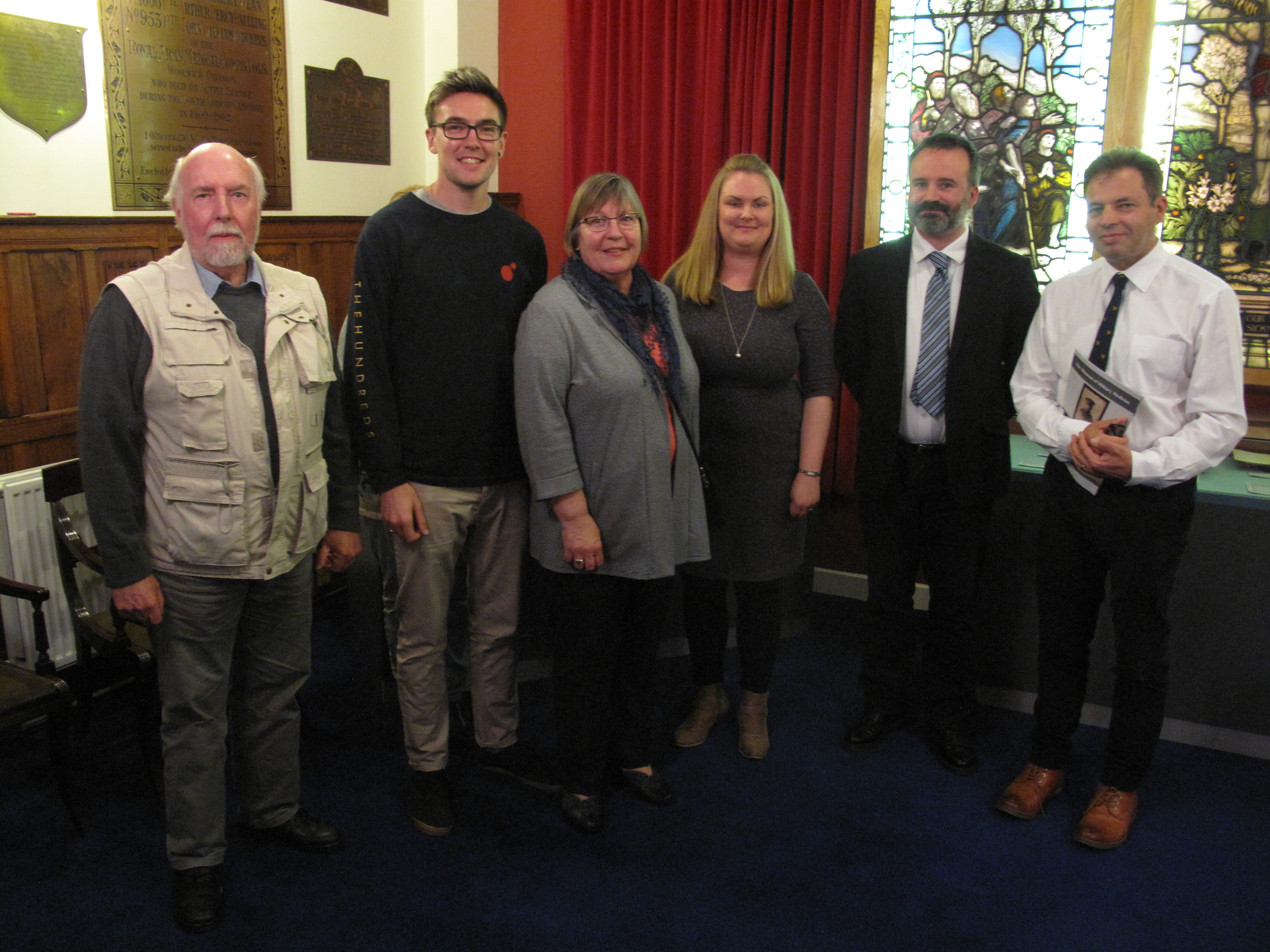 Left to right: Dr William Hunt (BGU); James Root (great grandson of the diarist); Jane Root (grand-daughter of the diarist); Dr Claire Hubbard-Hall (BGU); Jason Semmens (Museum Director); Colonel Ashleigh Boreham (Head of Army Medical Services).