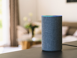 Amazon echo sitting on a kitchen counter in an apartment