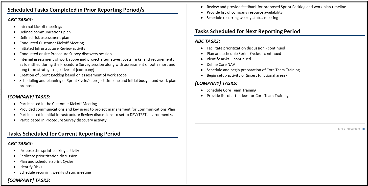 The Importance of Reading your Weekly Status Report