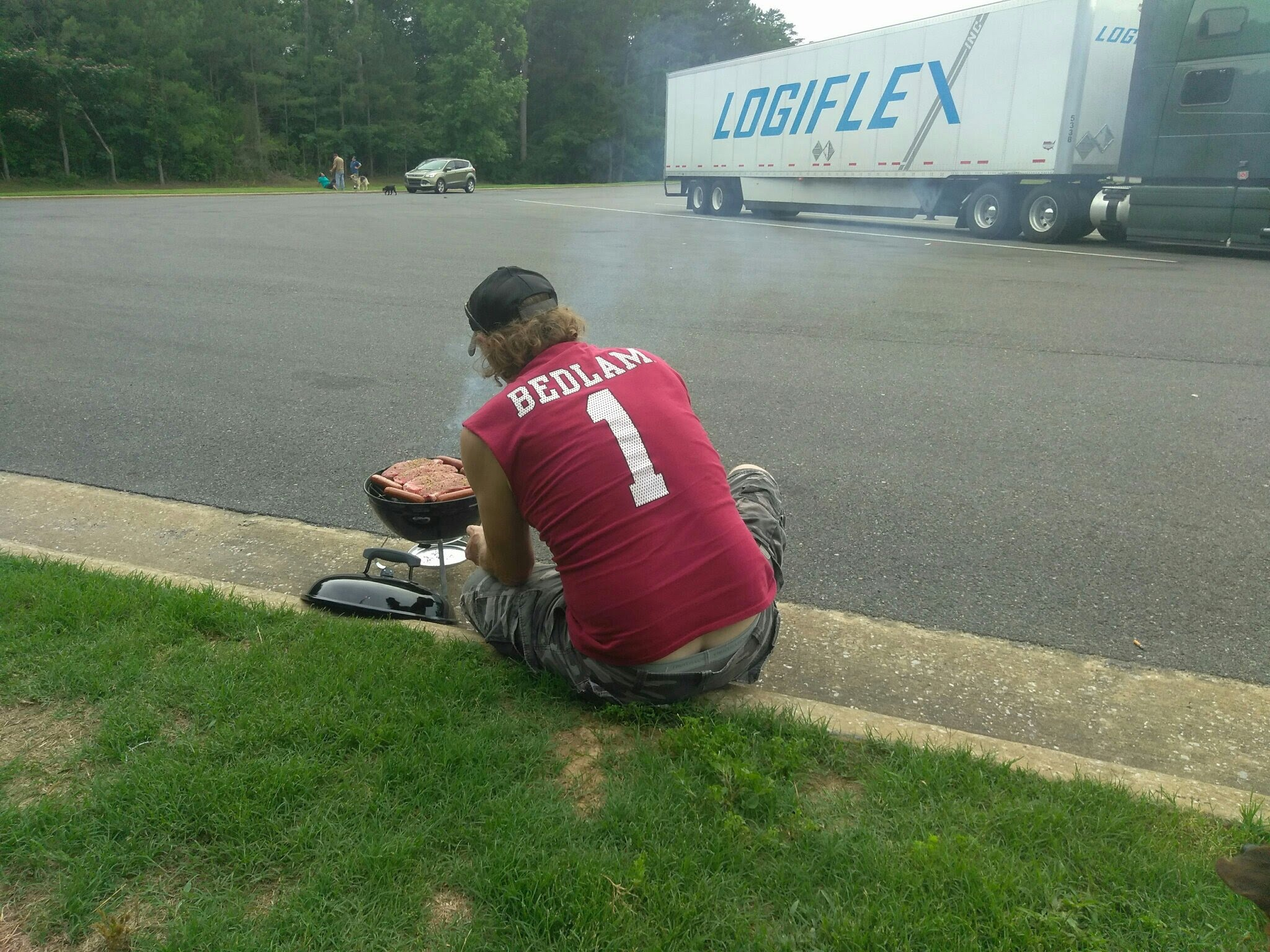 Driver having barbecue on a rest area