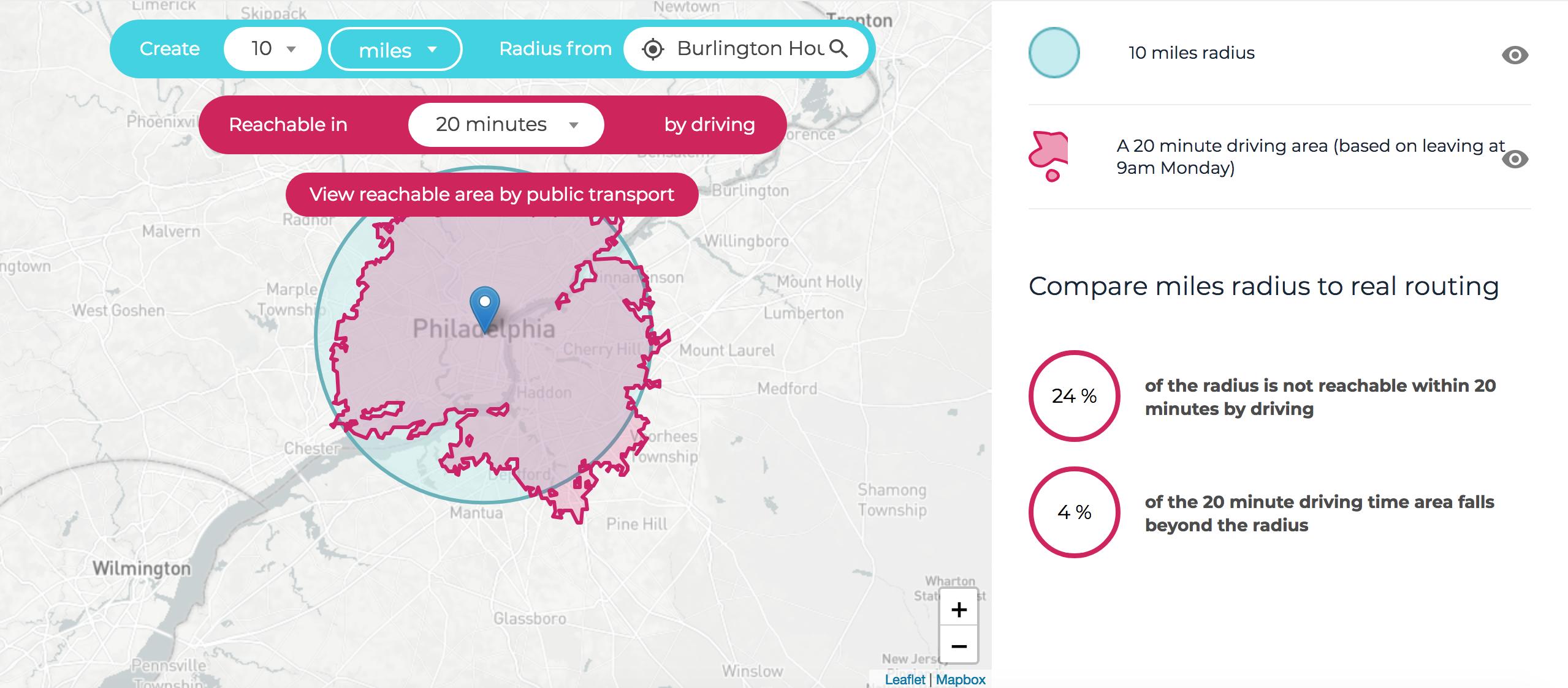 distance-radius-map-result-driving