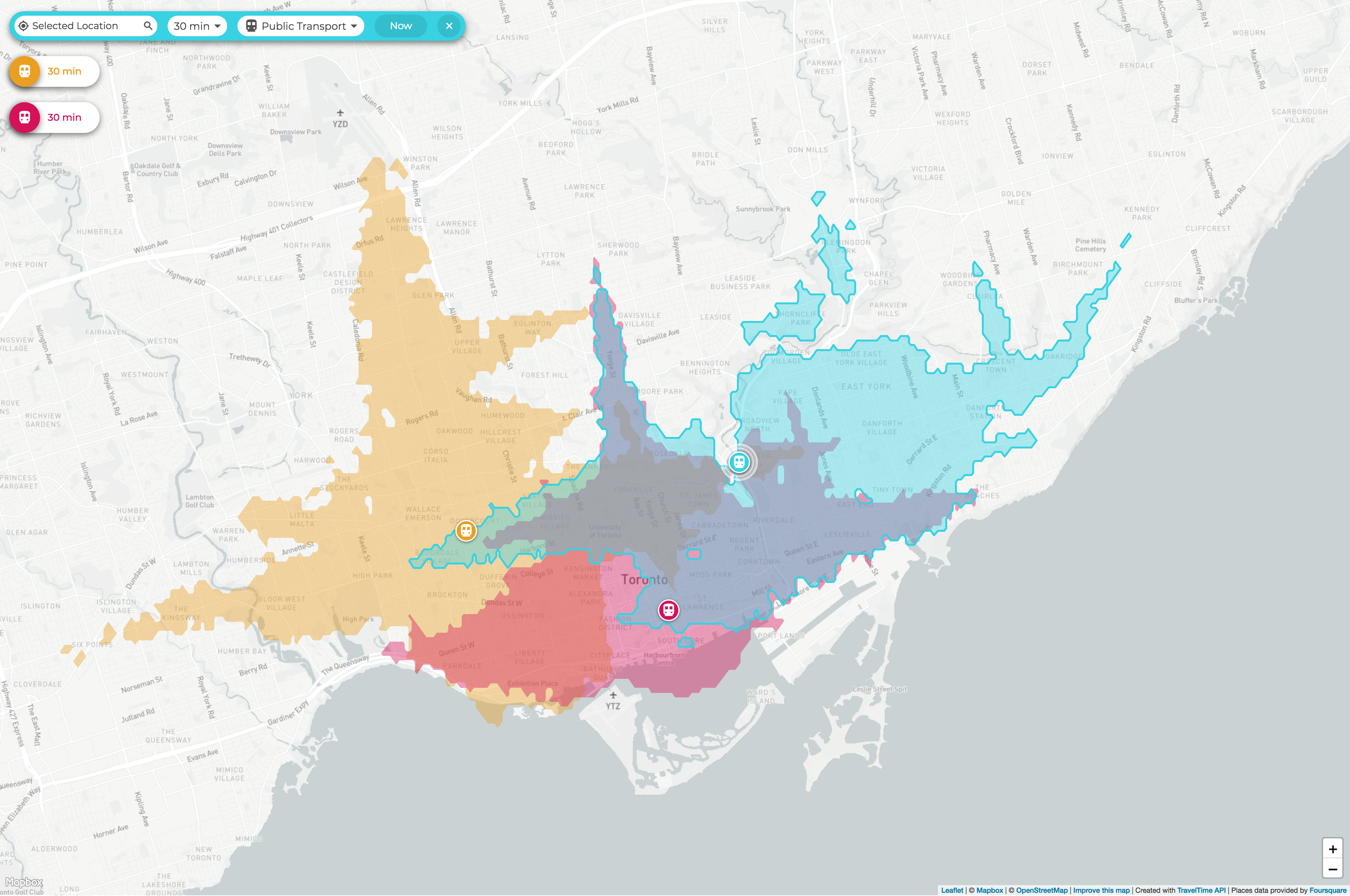 travel-time-isochrone-map
