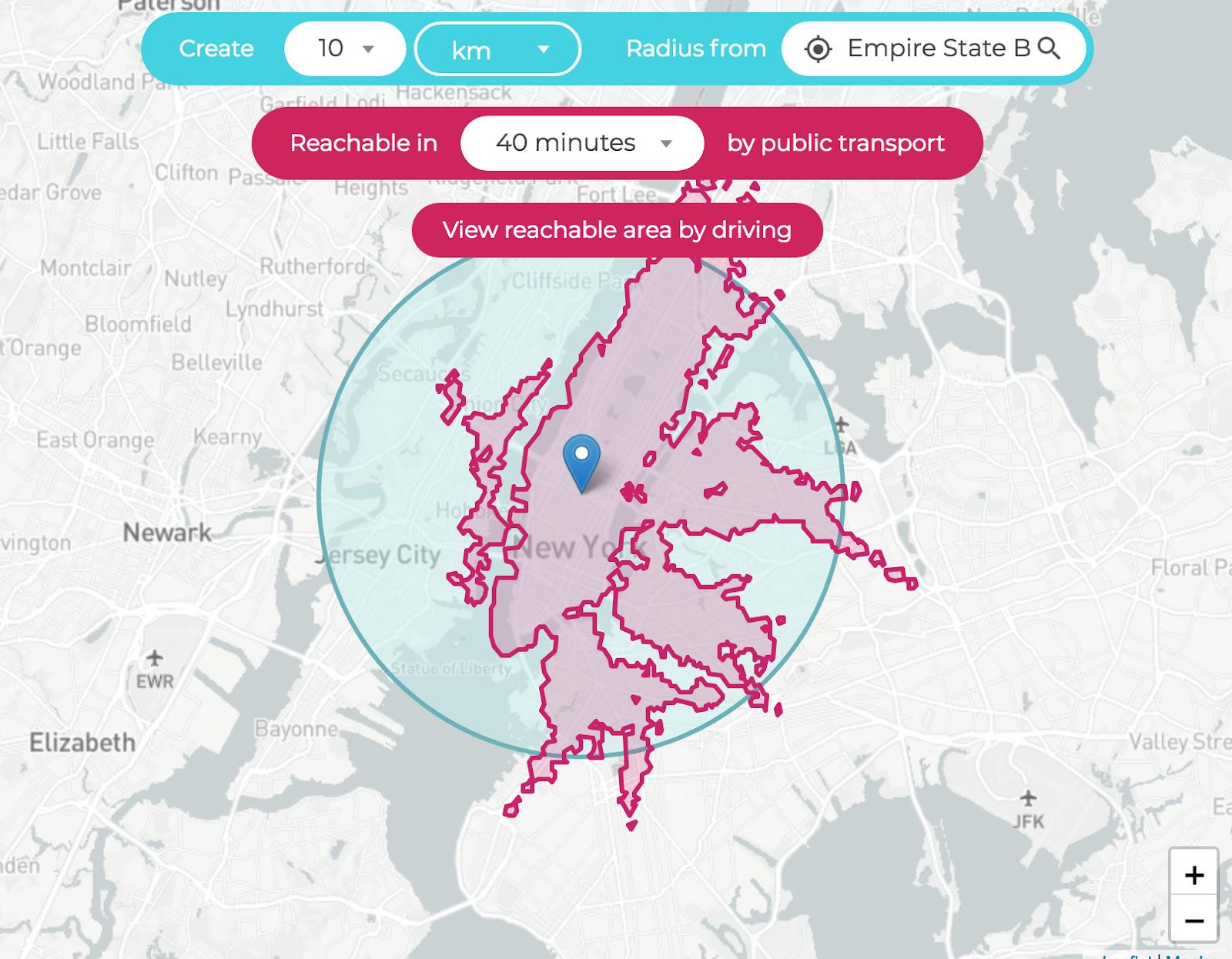 kilometer-radius-map