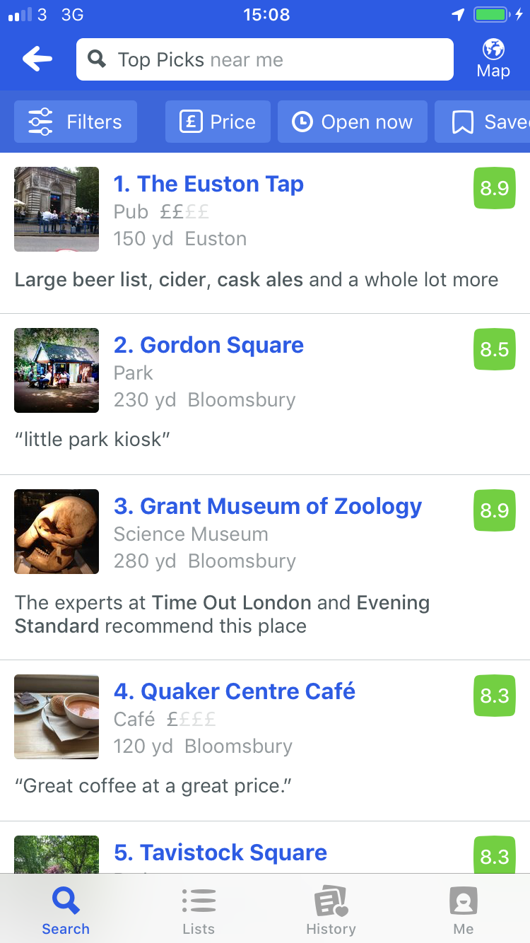 fouresquare-mobile-view