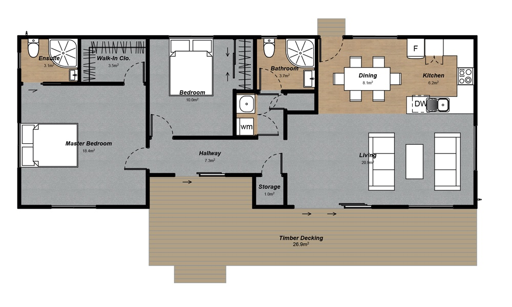 Tarras 2 Bedroom Floorplan