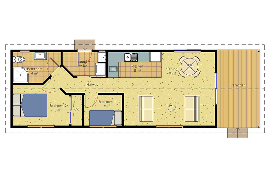 Small 2 bedroom house plans modern 2 bedroom house plan for Best small house designs nz