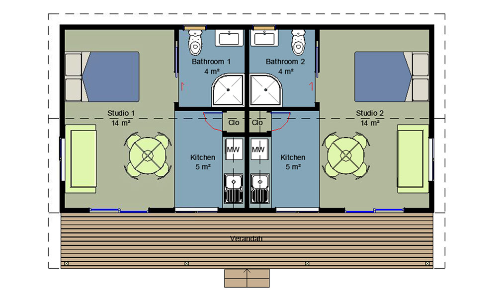 Twin Unit Floorplan. This Design Has Two Self ... Part 71