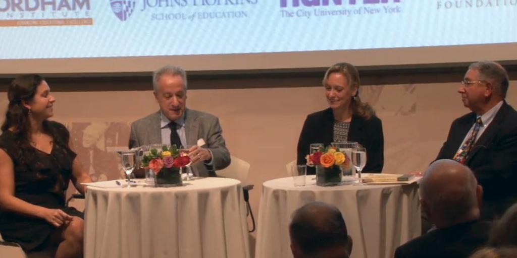 Excellence Gap panelists: Dr. Jennifer Giancola, David Steiner, Dr. Amy Lynne Shelton, and Chester E. Finn