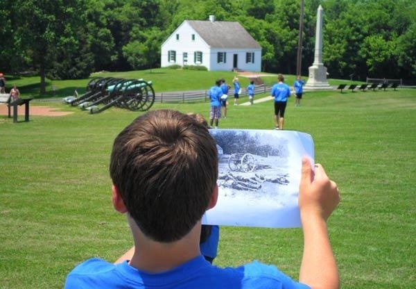 A student matches historical image with its location