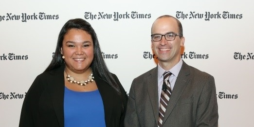 "Sayra and NYT Managing Editor of ""The Upshot"" David Leonhardt"