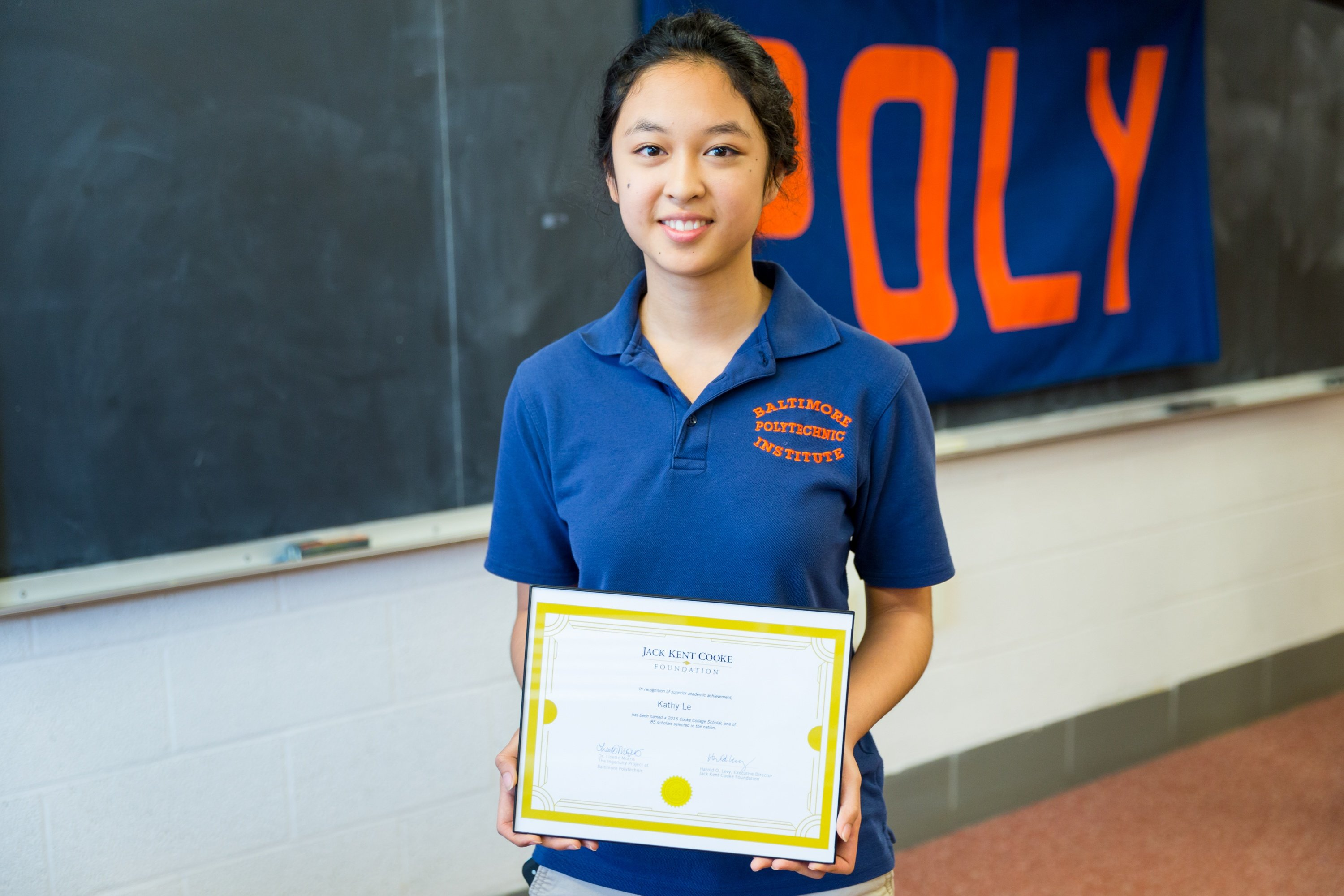 Cooke Scholar Kathy Le from Baltimore Polytechnic Institute