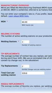 how to calculate cost of MIG welding arc down time