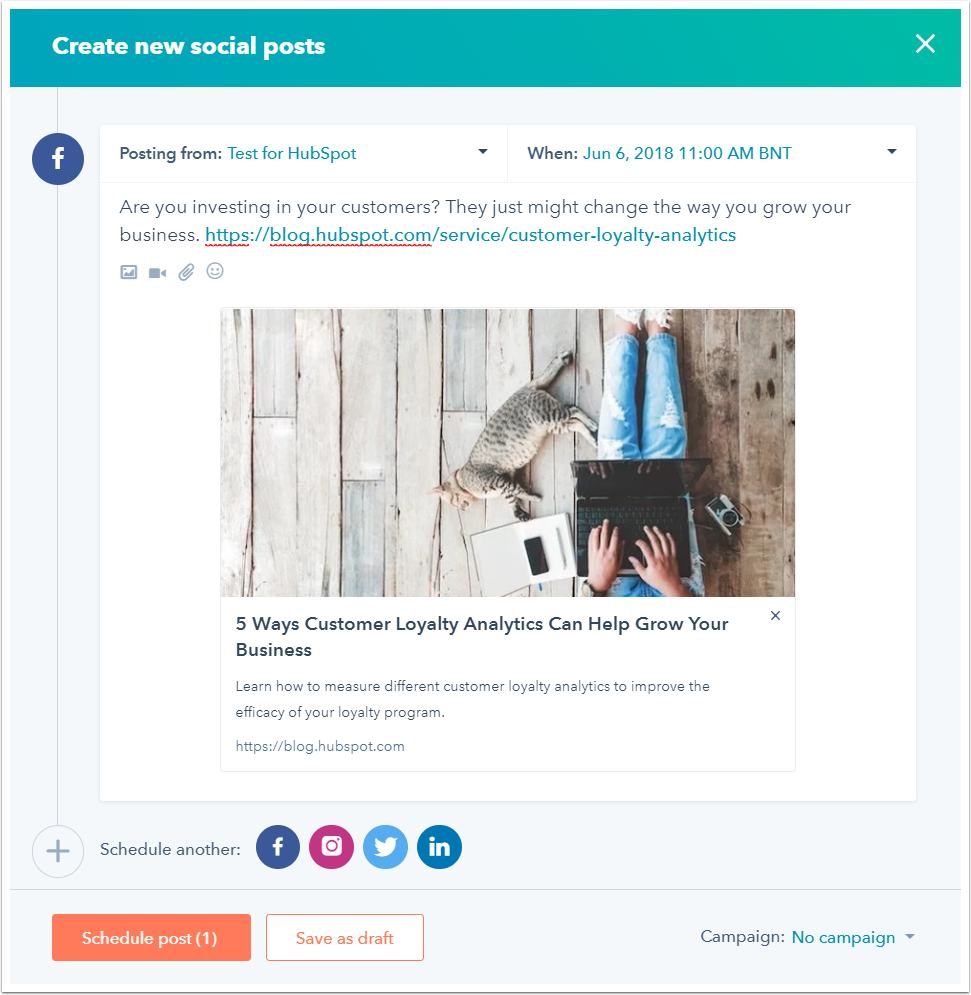 Create and publish social posts