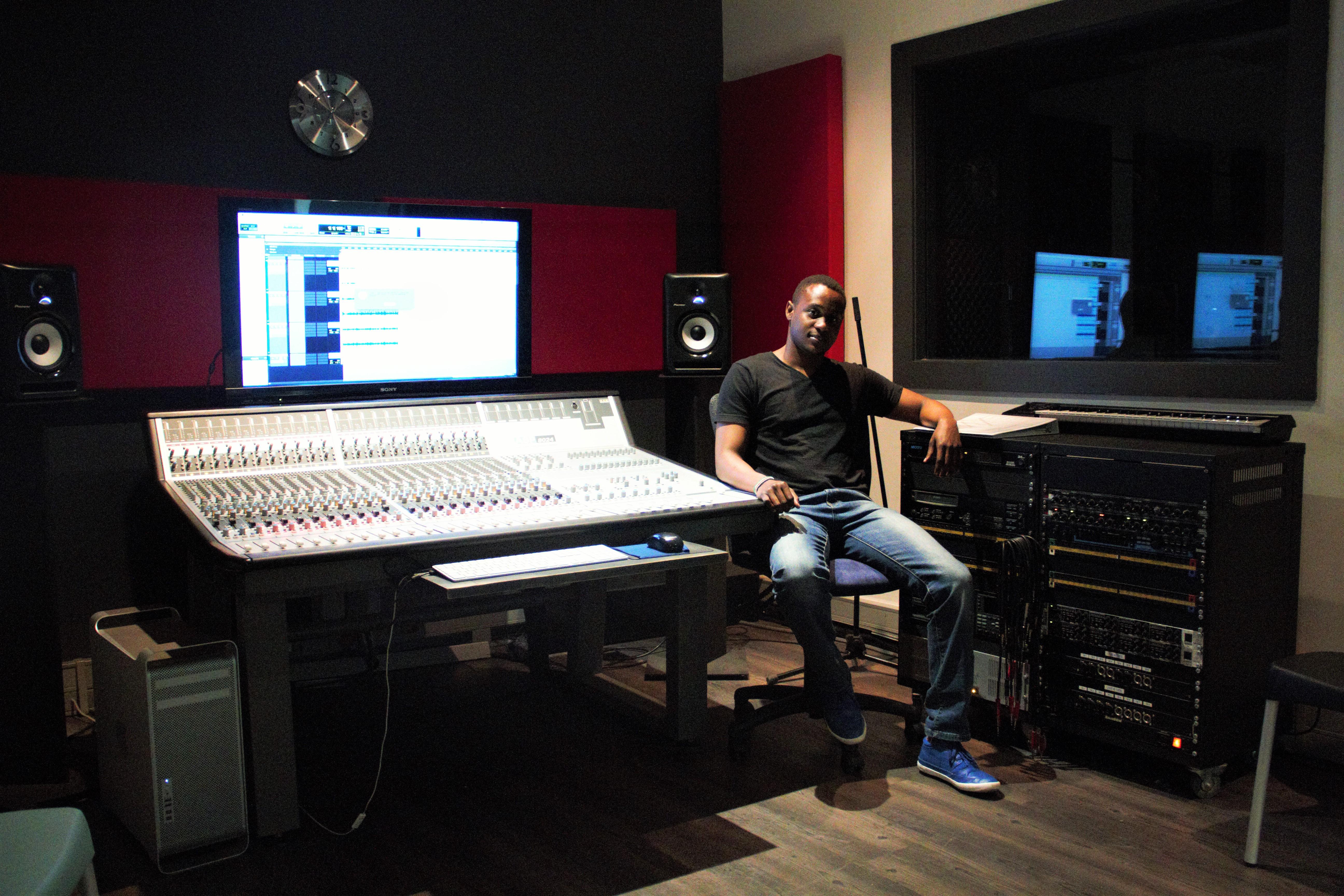 Sound engineer in the studio