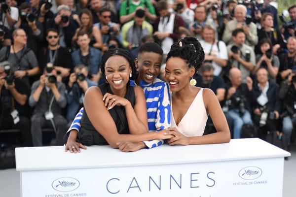 From left: Kenyan director Wanuri Kahiu and actors Samantha Mugatsia and Sheila Munyiva from Rafiki at the Cannes Film Festival.