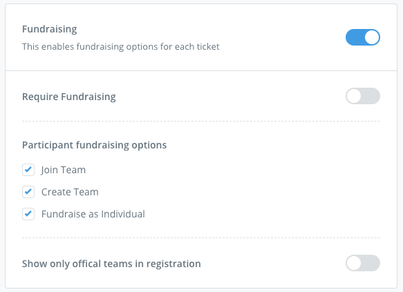 Registration Fundraising Options