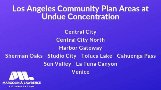 Los Angeles Community Plan Areas at Undue Concentration