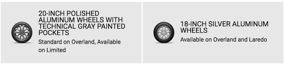 Jeep Grand Cherokee wheel options