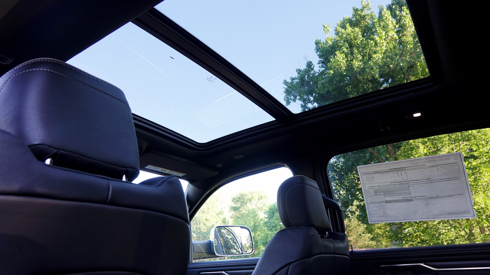 2019 Dodge RAM 1500 interior, 10 foot sunroof