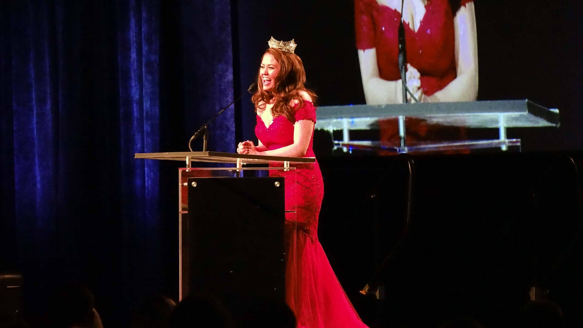 North Dakota's Cara Mund, Miss America, speaks at the Bismarck-Mandan Chamber Annual Dinner