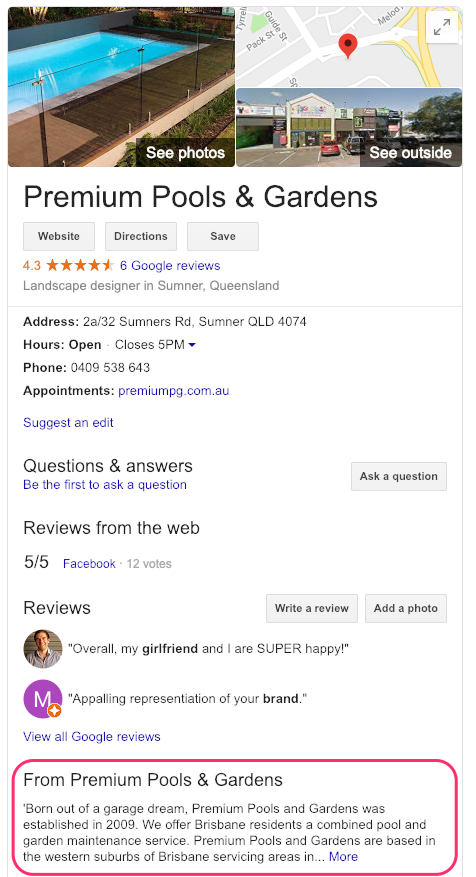 GMB business description in a listing