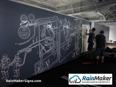 Construction company signs and graphics for Construction site wall mural