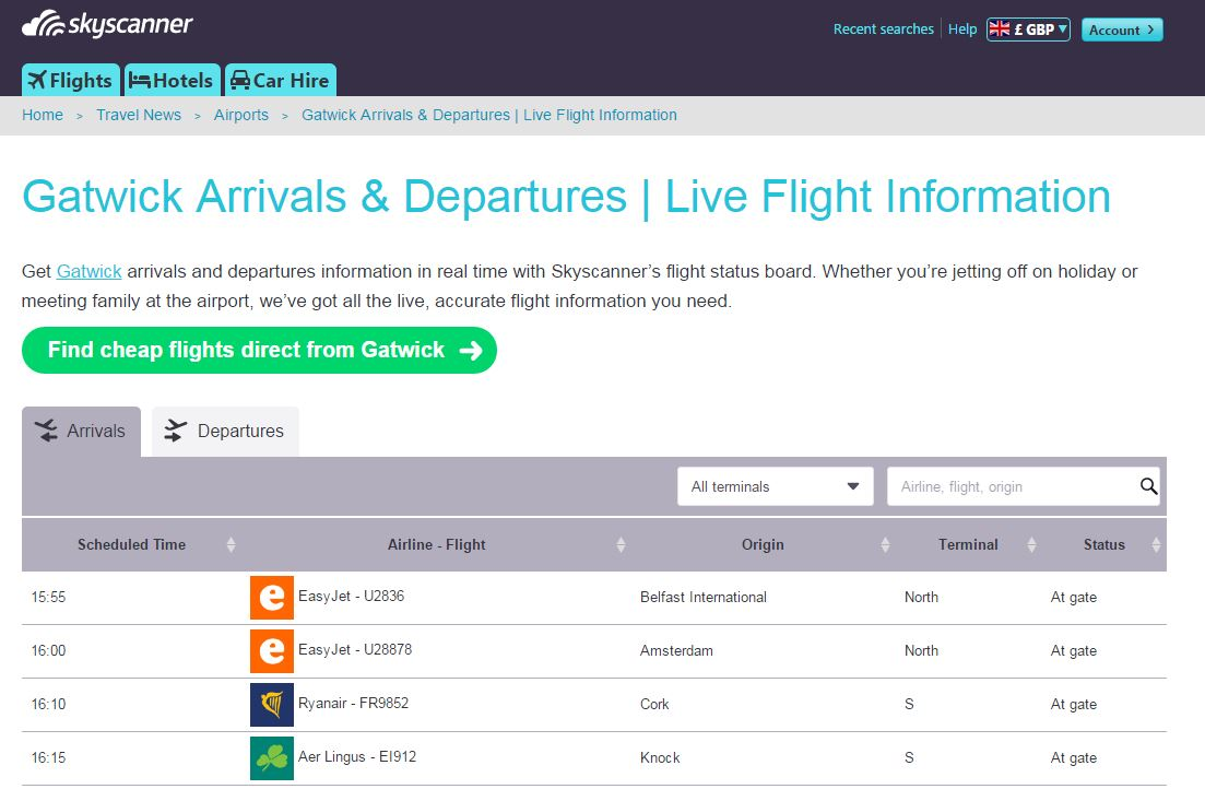 Skyscanner's flight status board, populated by OAG data