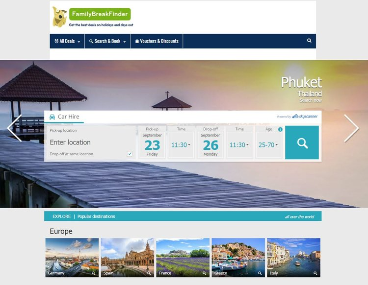 Car Hire search on Family Break Finder powered by Skyscanner