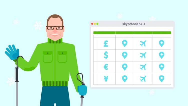 Skyscanner on Excel spreadsheet