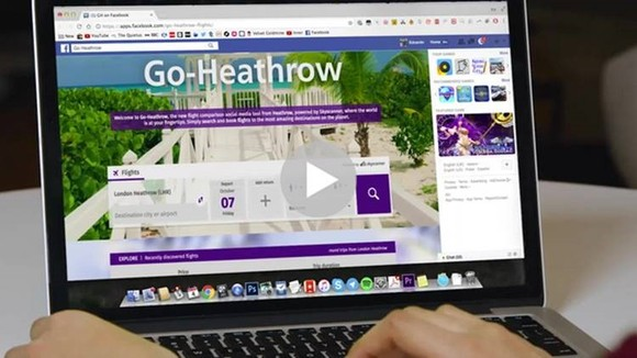 Go-Heathrow flight search on Facebook