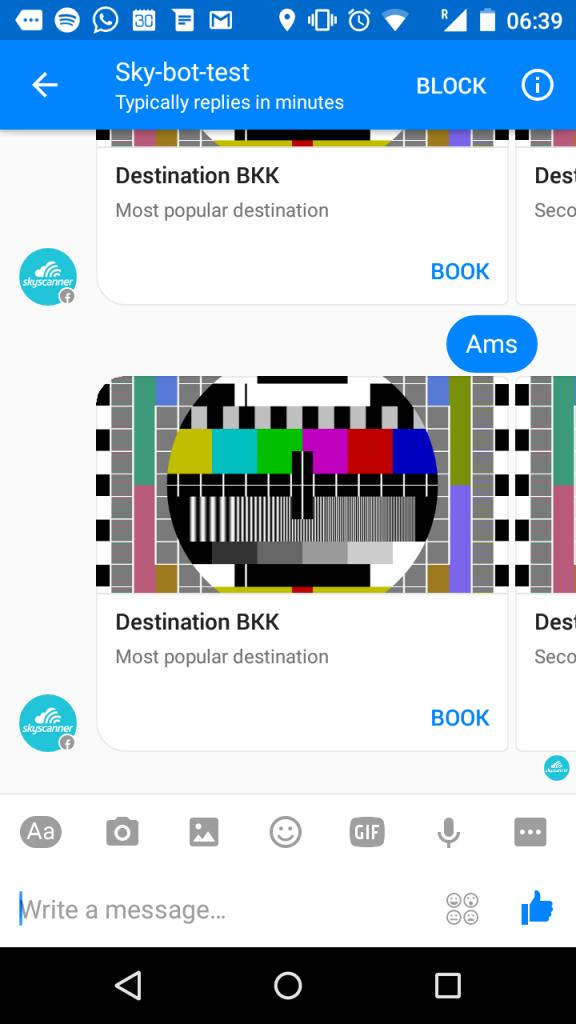 Skyscanner Facebook Messenger Bot test
