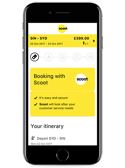 Skyscanner's Direct Booking design with Scoot on Mobile