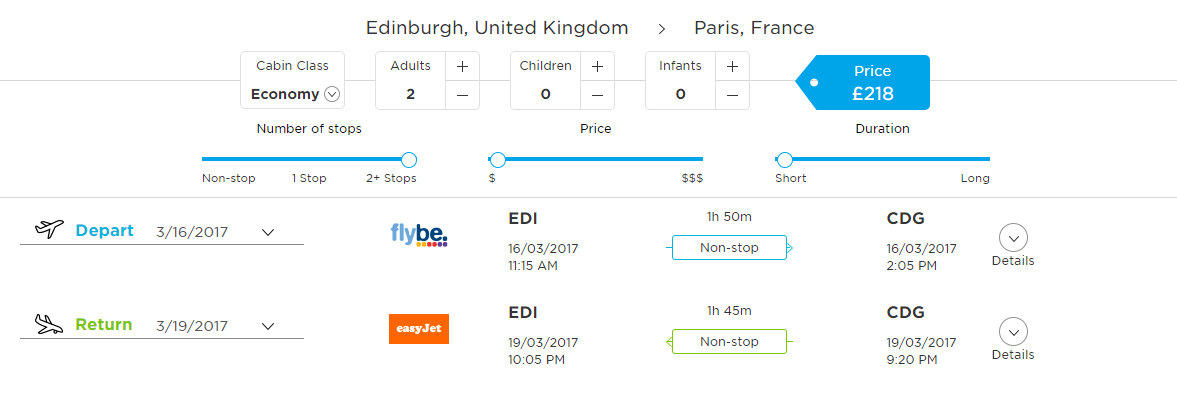 flight search controls on GoBeenThere